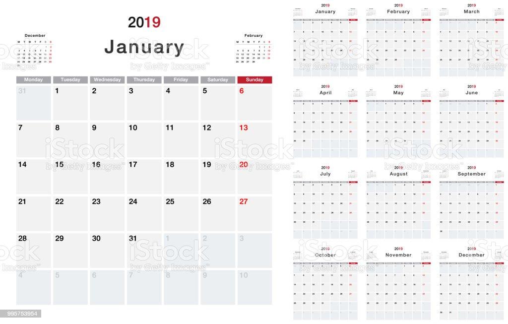 Calendar Year 2019 Horizontal Vector Design Template Simple And