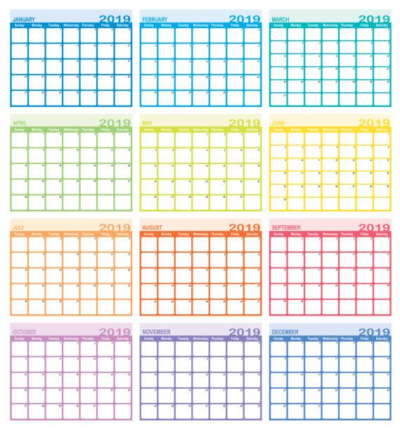 calendar year 2019 - calendar stock illustrations, clip art, cartoons, & icons