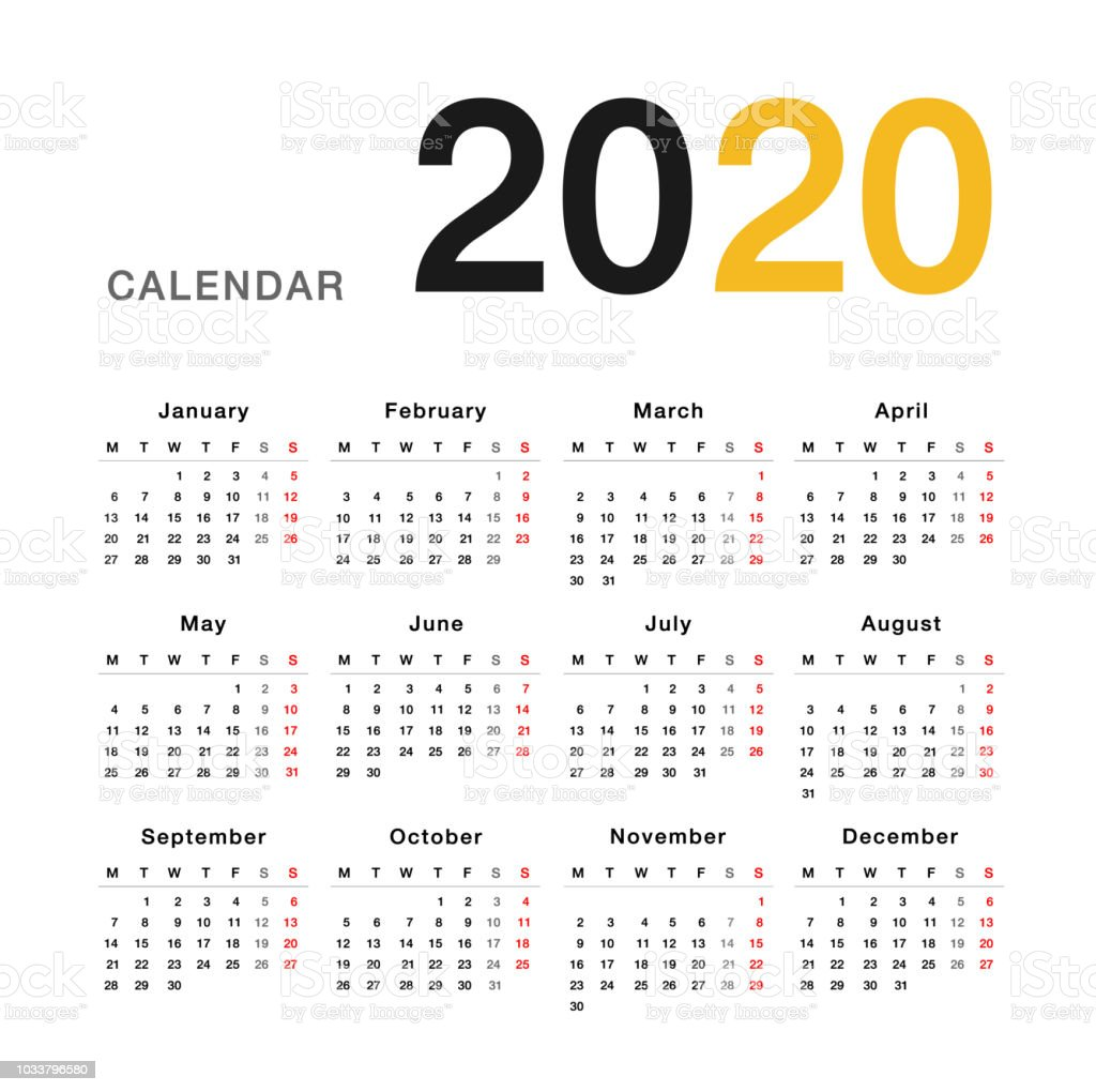 Calendario 2020 Vector Gratis.Calendar Year 2020 Vector Design Template Simple And Clean