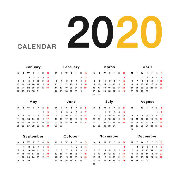 calendar year 2020 vector design template, simple and clean design. - holiday background stock illustrations