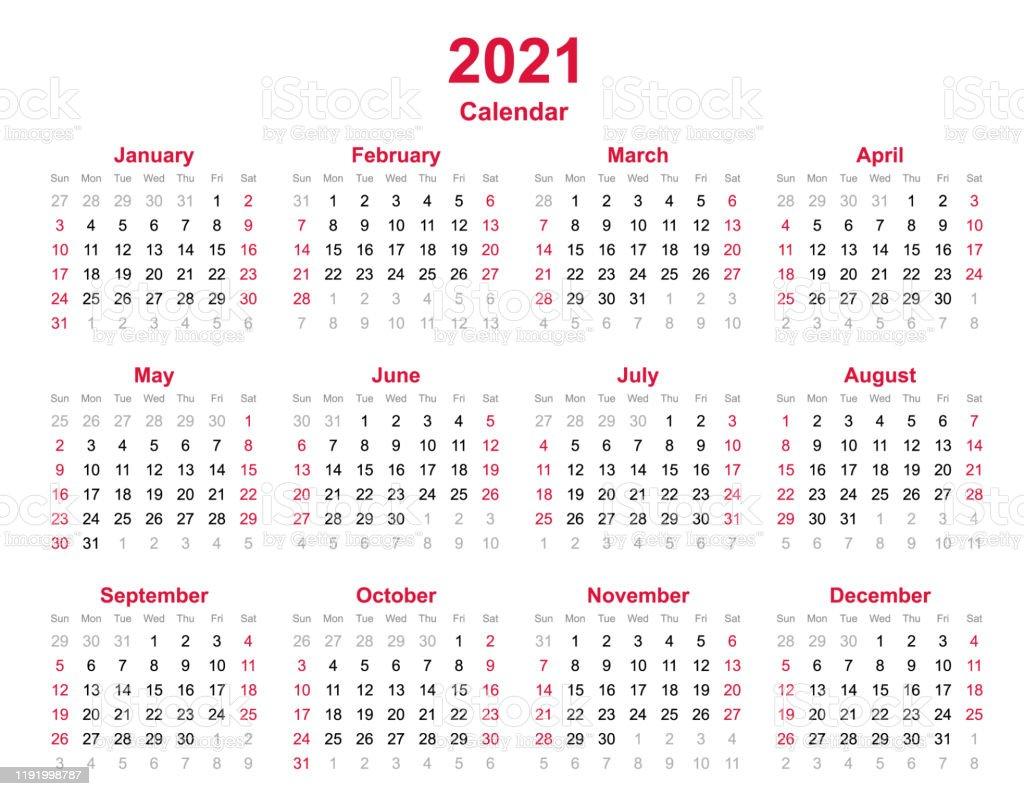 Année Civile 2021 La Semaine Commence Le Dimanche Modèle Annuel De