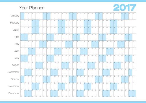 Calendar Year Planner 2017 Chart