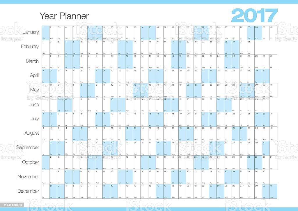 Calendar Year Planner 2017 Chart - ilustração de arte em vetor