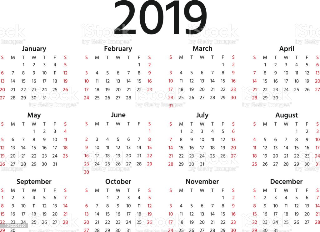 2019 calendar year vector illustration template planner royalty free 2019 calendar year