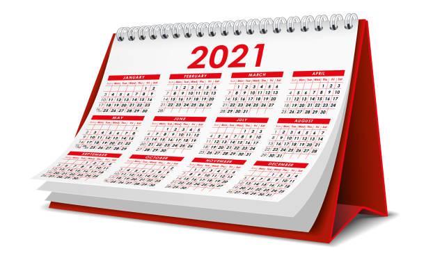 Calendar2021(mod03) Red 2021 Calendar almanac stock illustrations