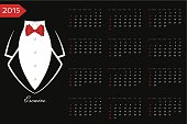 Calendar.Business tuxedo with a red bow tie