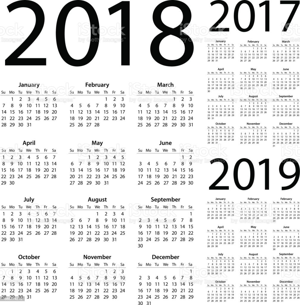 Calendars 2018 2017 2019 Simple - American International Version vector art illustration