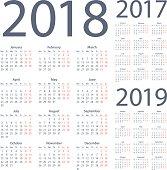 Calendars 2018 2017 2019 Simple - English European International Version