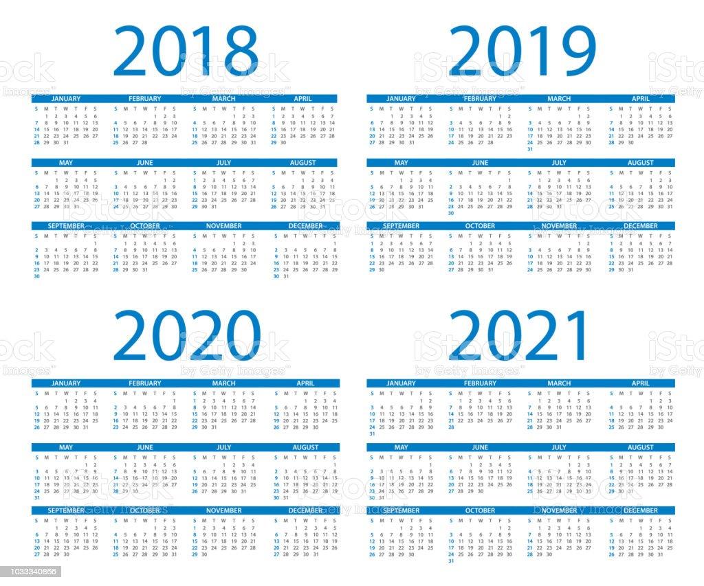 kalender 2018 2019 2020 2021 blau amerikanische internationale version tage ab sonntag stock. Black Bedroom Furniture Sets. Home Design Ideas