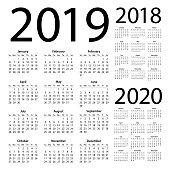 Calendars 2019 2018 2020 Simple - American International Version. Days start from Sunday