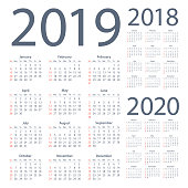 Calendars 2019 2018 2020 Simple - American International Version. Days start from Sunday