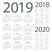 Calendars 2019 2018 2020 Simple - English European International Version. Days start from Monday