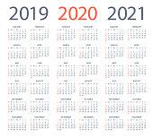 Calendars 2020 2019 2021 Black Vertical - English American International Version. Days start from Sunday