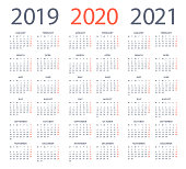 Calendars 2020 2019 2021 Black Vertical - English European International Version. Days start from Monday