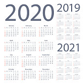 Calendars 2020 2019 2021 Simple - American English International Version. Days start from Monday