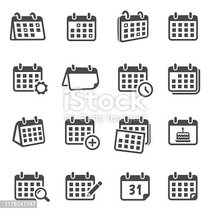 Calendars for time planning glyph icons set. Scheduling events, worktime organization silhouette symbols. Monthly timetable with cogwheel, magnifier, pencil isolated vector illustrations collection