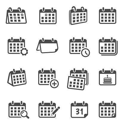 Calendars for time planning glyph icons set