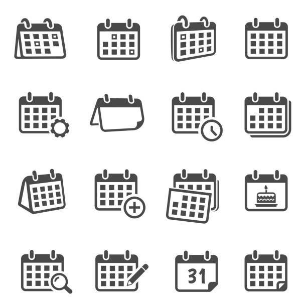 Calendars for time planning glyph icons set Calendars for time planning glyph icons set. Scheduling events, worktime organization silhouette symbols. Monthly timetable with cogwheel, magnifier, pencil isolated vector illustrations collection agenda stock illustrations