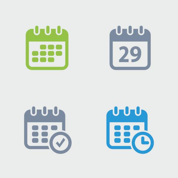 Calendars - Granite Icons A set of 4 professional, pixel-perfect icons designed on a 32x32 pixel grid. agenda stock illustrations
