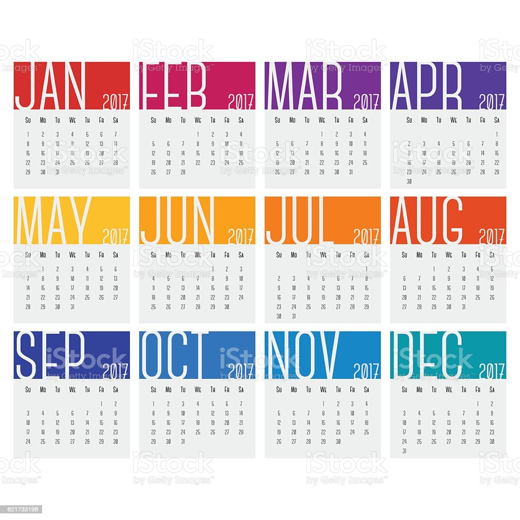 2017 Calendars vector art illustration
