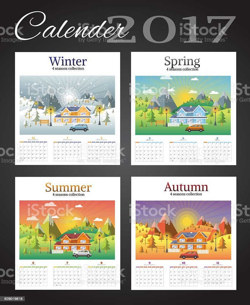 calender 2017 on landscape seasons set ベクターアートイラスト