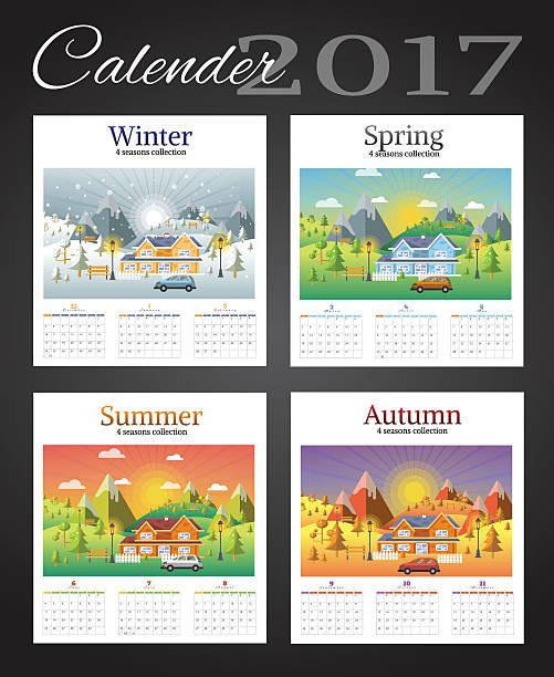 calender 2017 on landscape seasons set - 自然のカレンダー点のイラスト素材/クリップアート素材/マンガ素材/アイコン素材