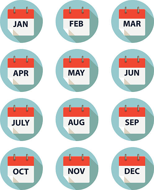 calender by month EPS 10 and JPEG month stock illustrations