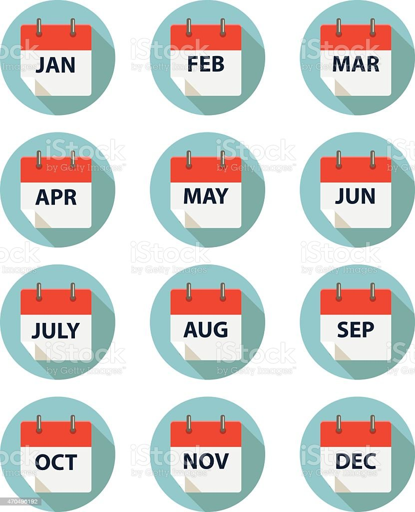 calender by month vector art illustration