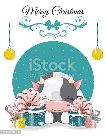 calf Merry Christmas card
