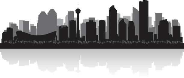 Calgary Alberta Canada city skyline silhouette Calgary Alberta Canada city skyline vector silhouette illustration alberta stock illustrations
