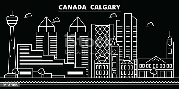 Calgary silhouette skyline. Canada - Calgary vector city, canadian linear architecture, buildings. Calgary line travel illustration, landmarks. Canada flat icon, canadian outline design banner
