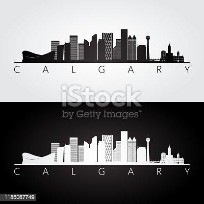 Calgary skyline and landmarks silhouette, black and white design, vector illustration.