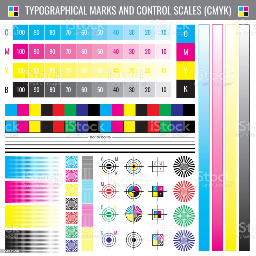 Calibration Printing Crop Marks CMYK Color Test Vector Document Royalty Free