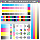 Calibration printing crop marks. CMYK color test vector document