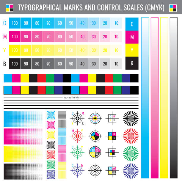 illustrazioni stock, clip art, cartoni animati e icone di tendenza di calibration printing crop marks. cmyk color test vector document - cmyk