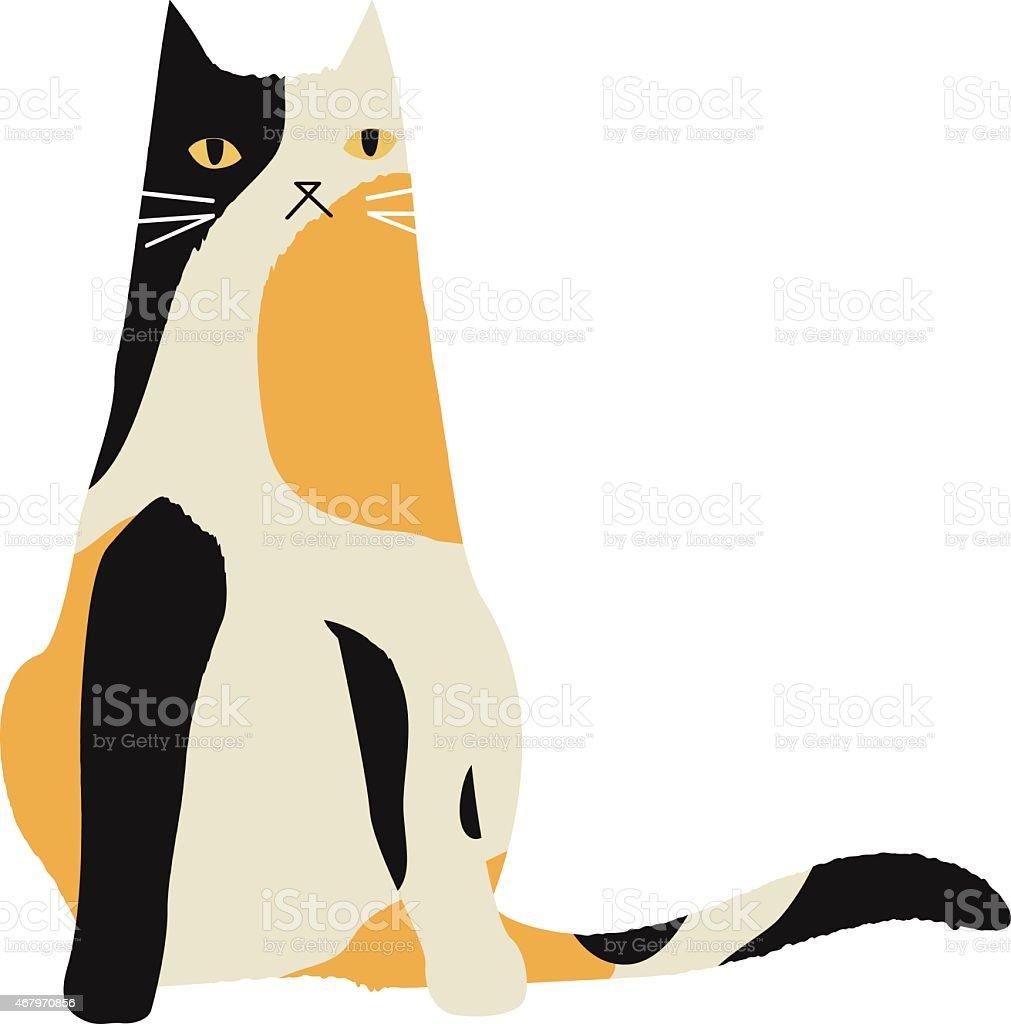 calico cat character vector art illustration