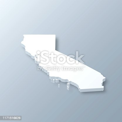 3D map of California isolated on a blank and gray background, with a dropshadow. Vector Illustration (EPS10, well layered and grouped). Easy to edit, manipulate, resize or colorize.