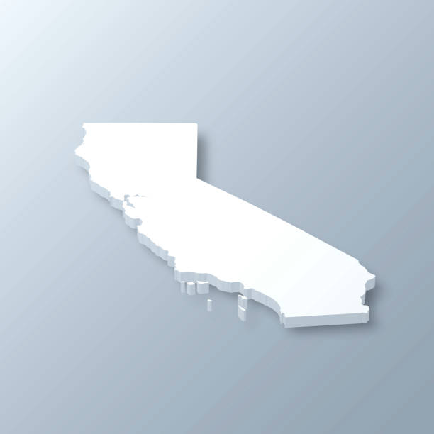 California 3D Map on gray background 3D map of California isolated on a blank and gray background, with a dropshadow. Vector Illustration (EPS10, well layered and grouped). Easy to edit, manipulate, resize or colorize. california map stock illustrations