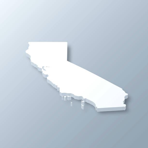 California 3D Map on gray background vector art illustration