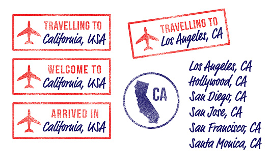 California Air Travel Rubber Stamps Vector Illustration