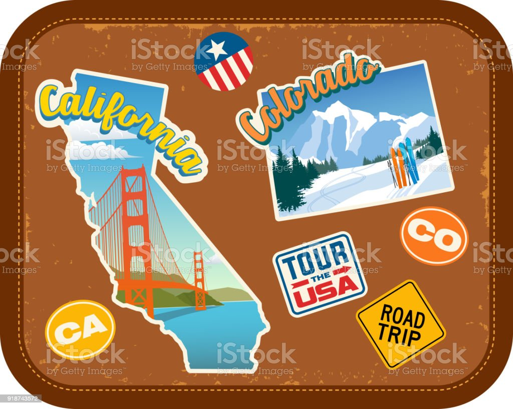 California and Colorado travel stickers with scenic attractions and retro text on vintage suitcase background