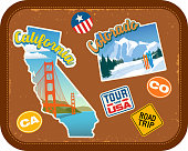 California and Colorado travel stickers with scenic attractions and retro text. State outline shapes. State abbreviations and tour USA stickers. Vintage suitcase background