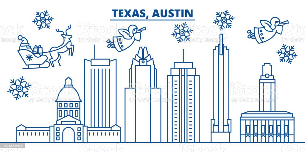 USA, California, Austin winter city skyline. Merry Christmas and Happy New Year decorated banner. Winter greeting card with snow and Santa Claus. Flat, line vector. Linear christmas illustration vector art illustration
