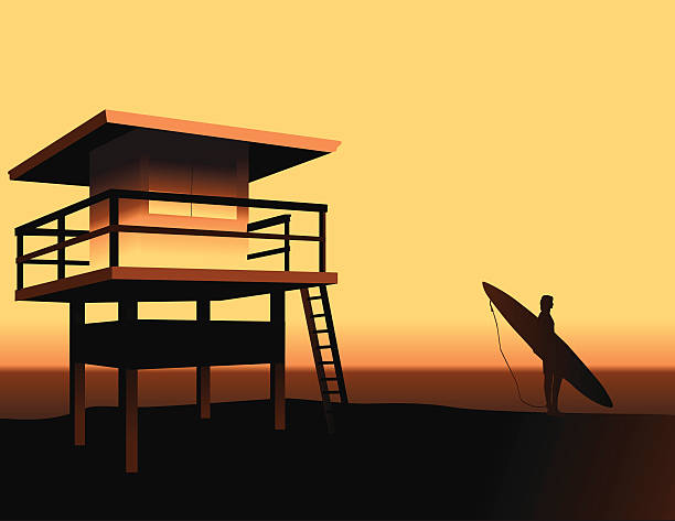 California Beach vector art illustration