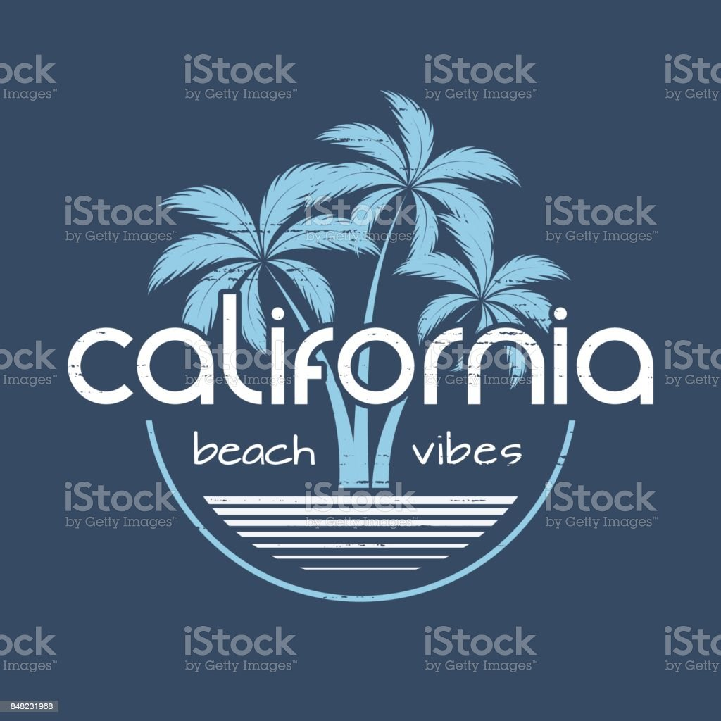 California beach vibes t-shirt and apparel vector design, print, typography, poster, emblem with palm trees. vector art illustration