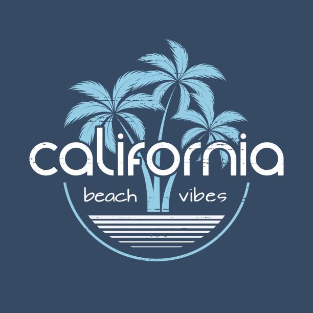 california beach vibes t-shirt and apparel vector design, print, typography, poster, emblem with palm trees. - beach fashion stock illustrations, clip art, cartoons, & icons