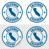 Map of California on a blue sticker and a blue rubber stamp. They are composed of the map in the middle with the names around, separated by stars. The stamp at the top right is created in a vintage style, a grunge texture is added to create a vintage and realistic effect. Vector Illustration (EPS10, well layered and grouped). Easy to edit, manipulate, resize or colorize. Please do not hesitate to contact me if you have any questions, or need to customise the illustration. http://www.istockphoto.com/portfolio/bgblue