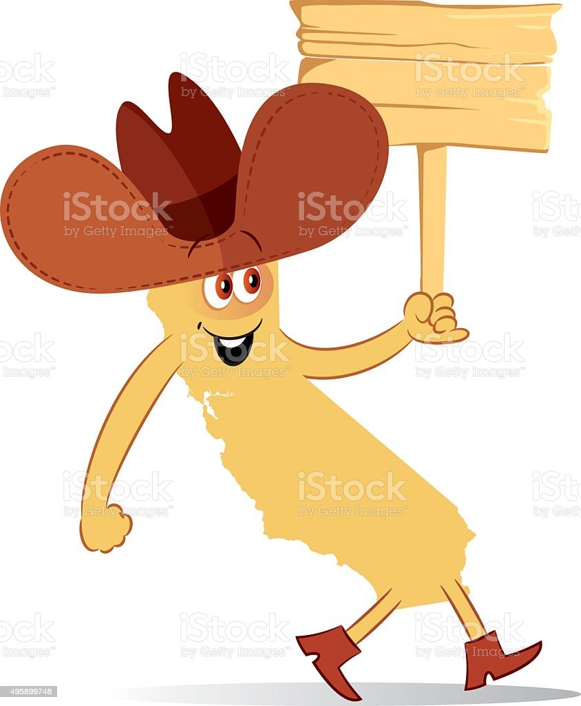 California cartoon cowboy vector art illustration