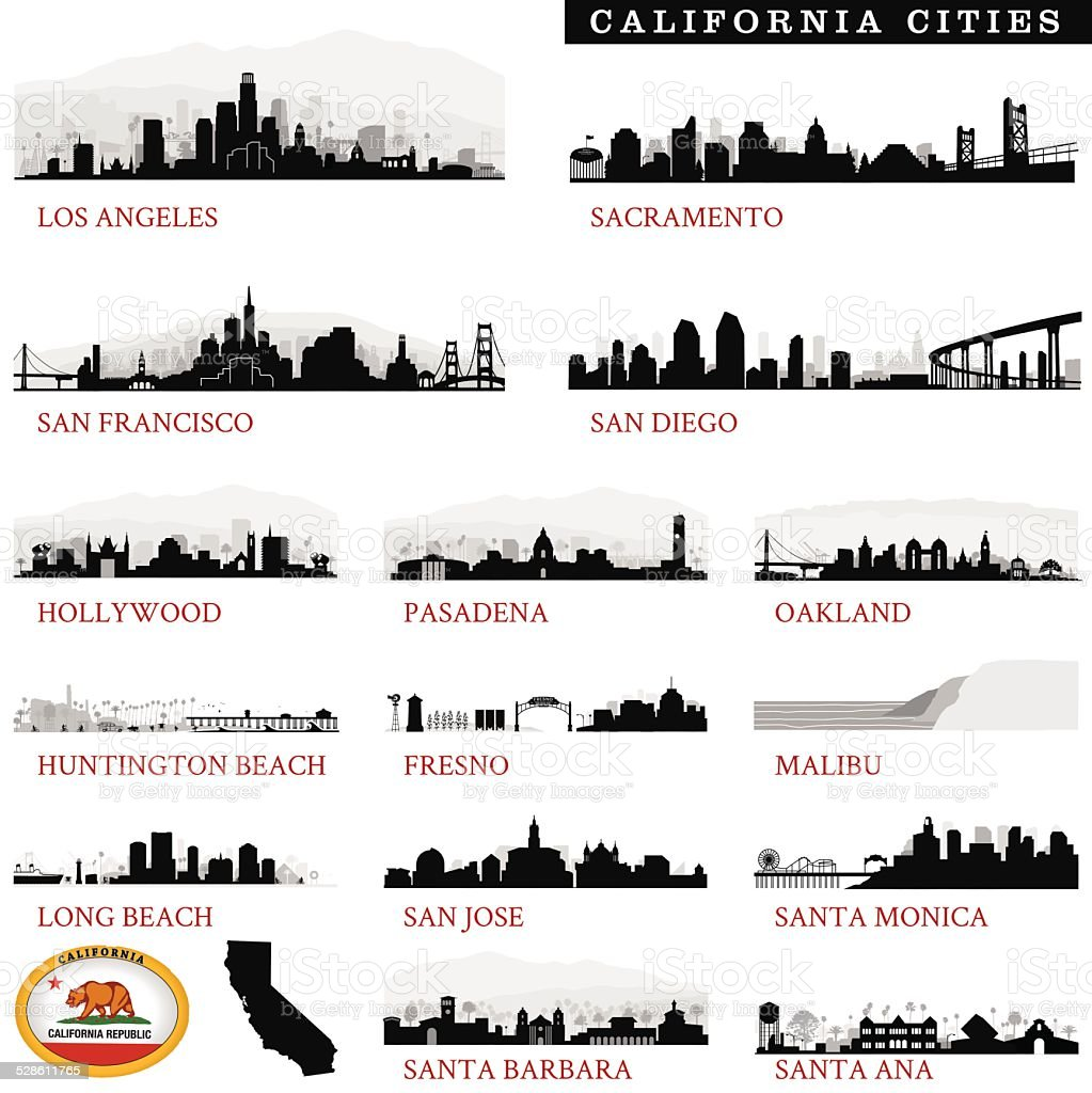 California Cities Detailed vector art illustration