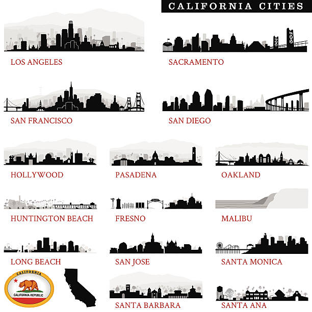 California Cities Detailed Series of Detailed Major California cityscapes oakland stock illustrations